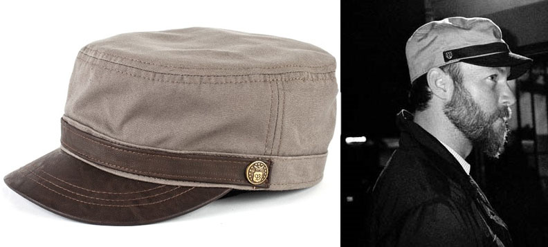 Busker Hat by Brixton- Taupe With Brown Leather Bill