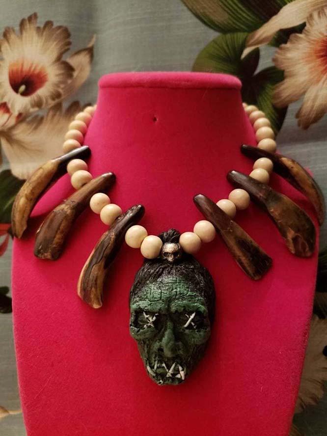Shruken Head Handcrafted Tiki Necklace by The Stilettoed Devil - Buffalo Bone
