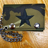 Camoflage Wallet With Embroidered Black Star (Comes with chain!)