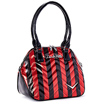 Chevron Queen Tote by Lux De Ville - Red Metallic & Black Stripes