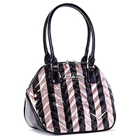 Chevron Queen Tote by Lux De Ville - Rose Gold Metallic & Black Stripes