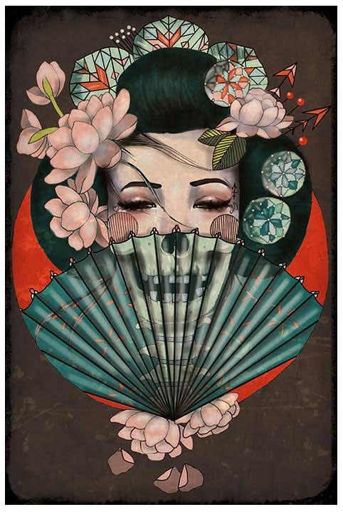 Death Becomes Her - Amy Dowell - Fine Art Print - Zombie Geisha