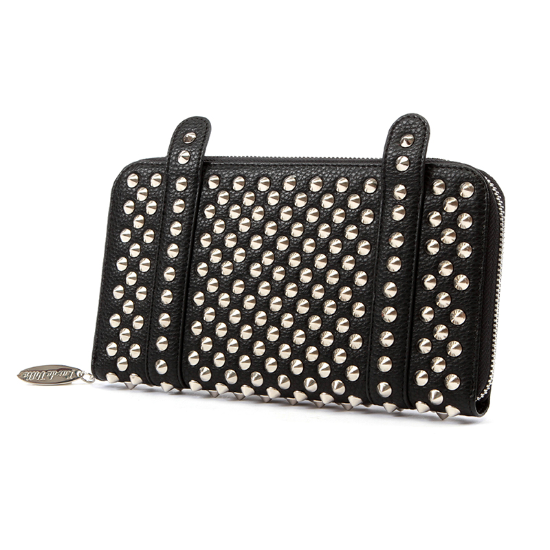 Evil Garden Studded Wallet / Clutch by Lux De Ville - Black