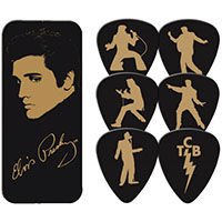Elvis Presley- Gold Portrait Guitar Picks In Collectors Tin