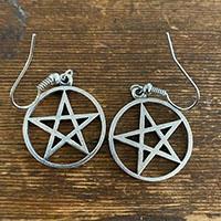 Stainless Steel Pentagram Dangle Earrings by Switchblade Stiletto