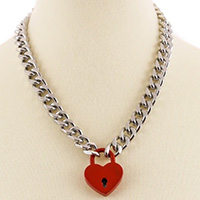Heart Shaped Lock & Chain Necklace by Funk Plus (Various Color Locks)