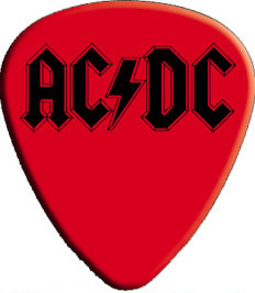 AC/DC- Logo on a Red Guitar Pick