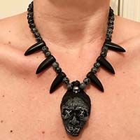 Shruken Head Handcrafted Tiki Necklace by The Stilettoed Devil - Grey Claw