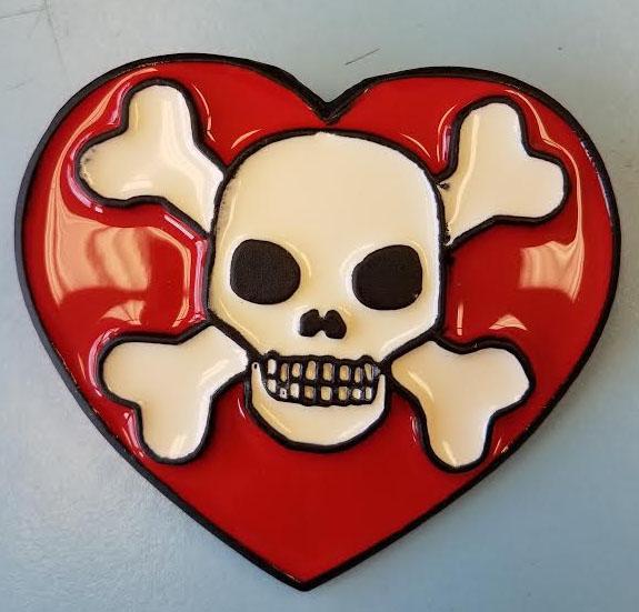 Heart With Skull & Crossbones Belt Buckle (bb32) (Sale price!)