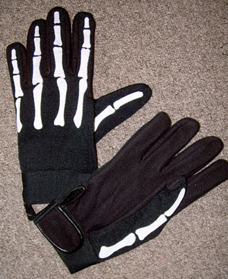Skeleton Gloves With Velcro Wrists
