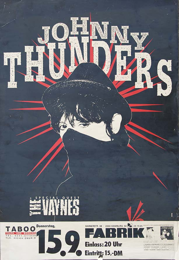 Johnny Thunders - German Show Poster - Fine Art Print by Annex