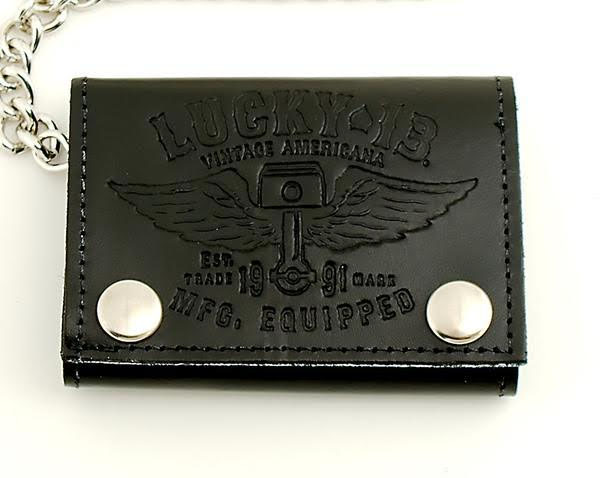Winged Piston Tri-Fold Embossed Leather Wallet by Lucky 13