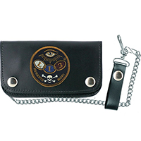 "Dead Eye 6"" black leather wallet with chain by Lucky 13"