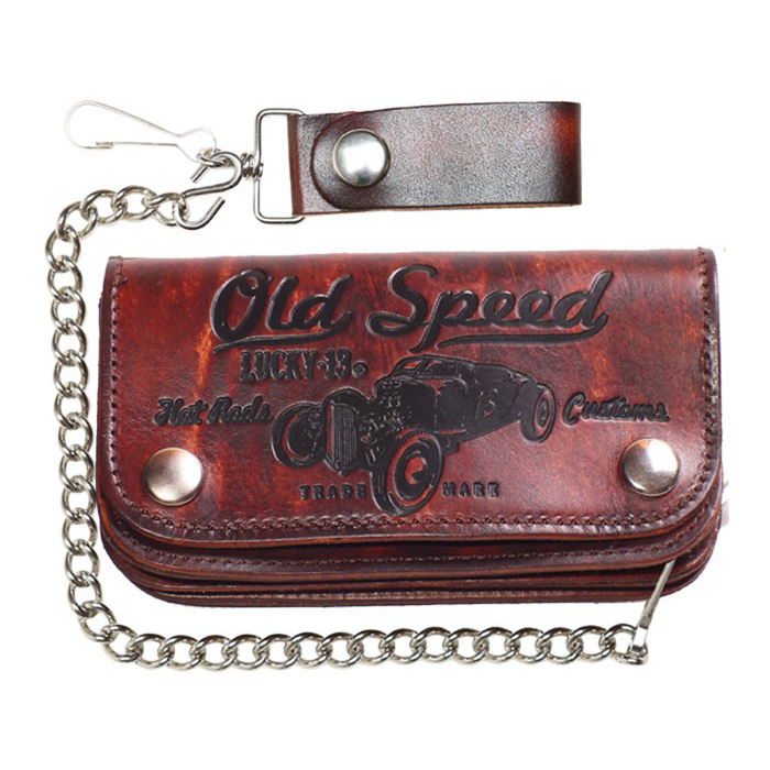 "Old Speed Antiqued 6 "" wallet with chain by Lucky 13"