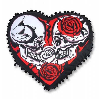 Broken Heart Shaped Pillow with Skulls & Roses by Liquorbrand