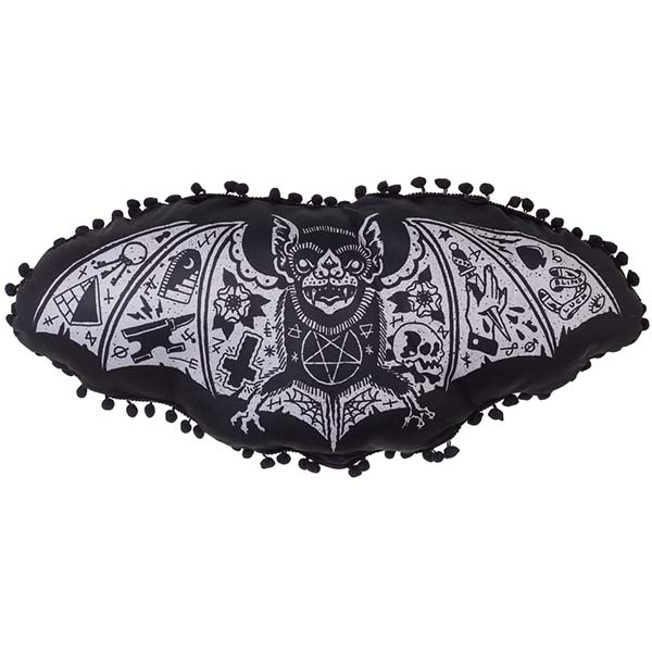 Tattoo Bat - Bat Shaped Pillow by Liquorbrand