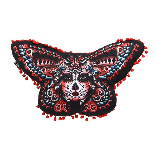 Butterfly Shaped Muerte Face Pillow by Liquorbrand