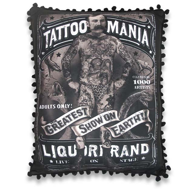Tattoo Mania Victorian Side Show Pillow by Liquorbrand