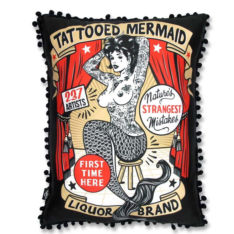 Tattooed Mermaid Sideshow Pillow by Liquorbrand