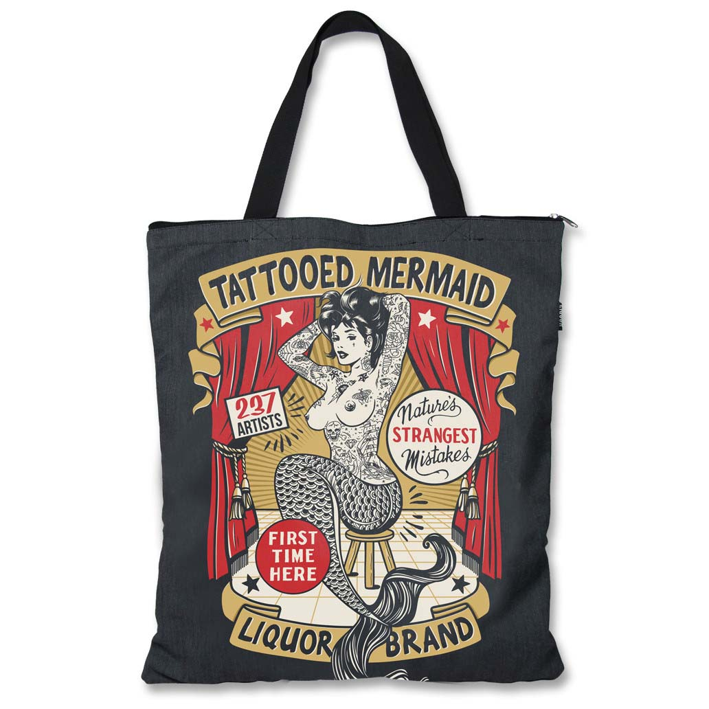 Tattooed Mermaid Sideshow Tote by Liquorbrand