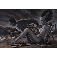 Beach Day for Frankenestein & His Bride -Damian Fulton -  Fine Art Print - The Bathers