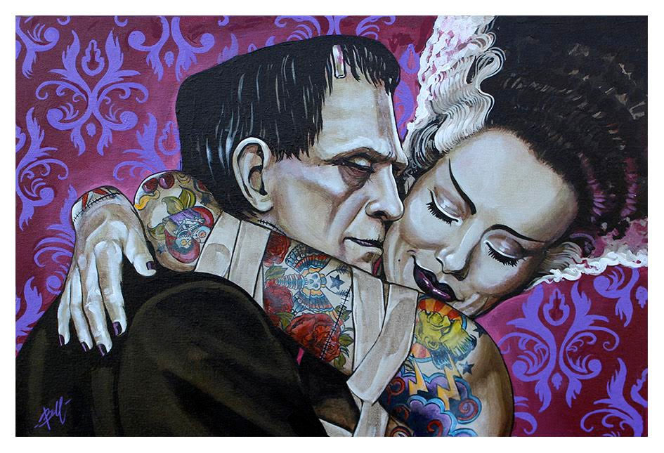 Frankenstein & Bride Mike Bell -  Fine Art Print - Undying Love