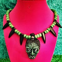 Shruken Head Handcrafted Tiki Necklace by The Stilettoed Devil - Lime Green