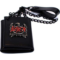 Slayer- Metal Eagle on a black leather wallet with chain