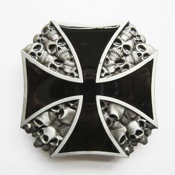 Iron Cross With Skulls Belt Buckle (bb188)