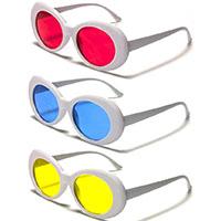 Women's Round Retro Sunglasses (White With Various Color Lenses)