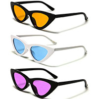 Cat Eye Retro Sunglasses (Black Or White With Various Color Lenses)