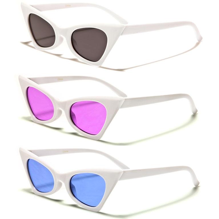Women's High Point Black Cat Eye Retro Sunglasses (White With Various Color Lenses)