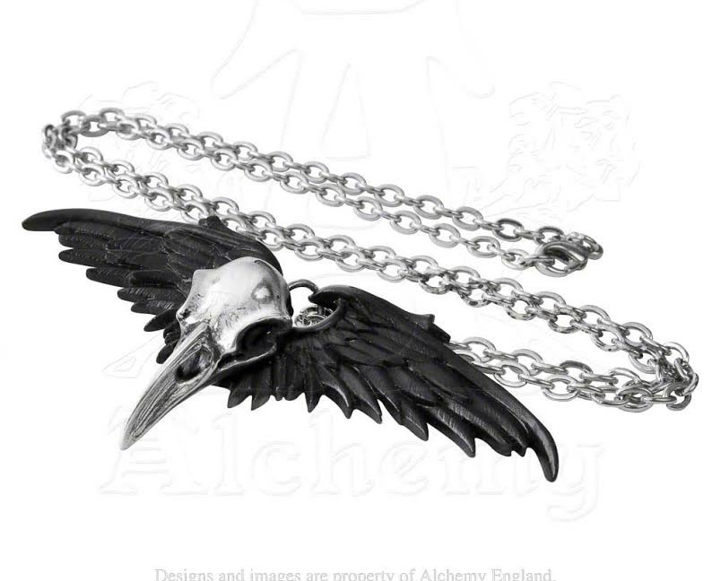 Ravenger Raven Skull Pewter Necklace by Alchemy England 1977