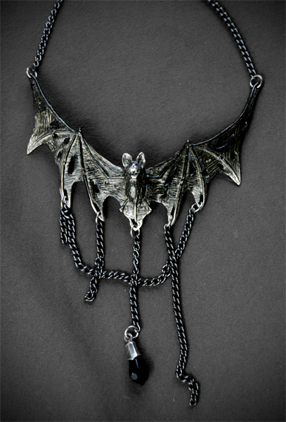 Villa Diodati Chained Bat Pewter Necklace by Alchemy England 1977