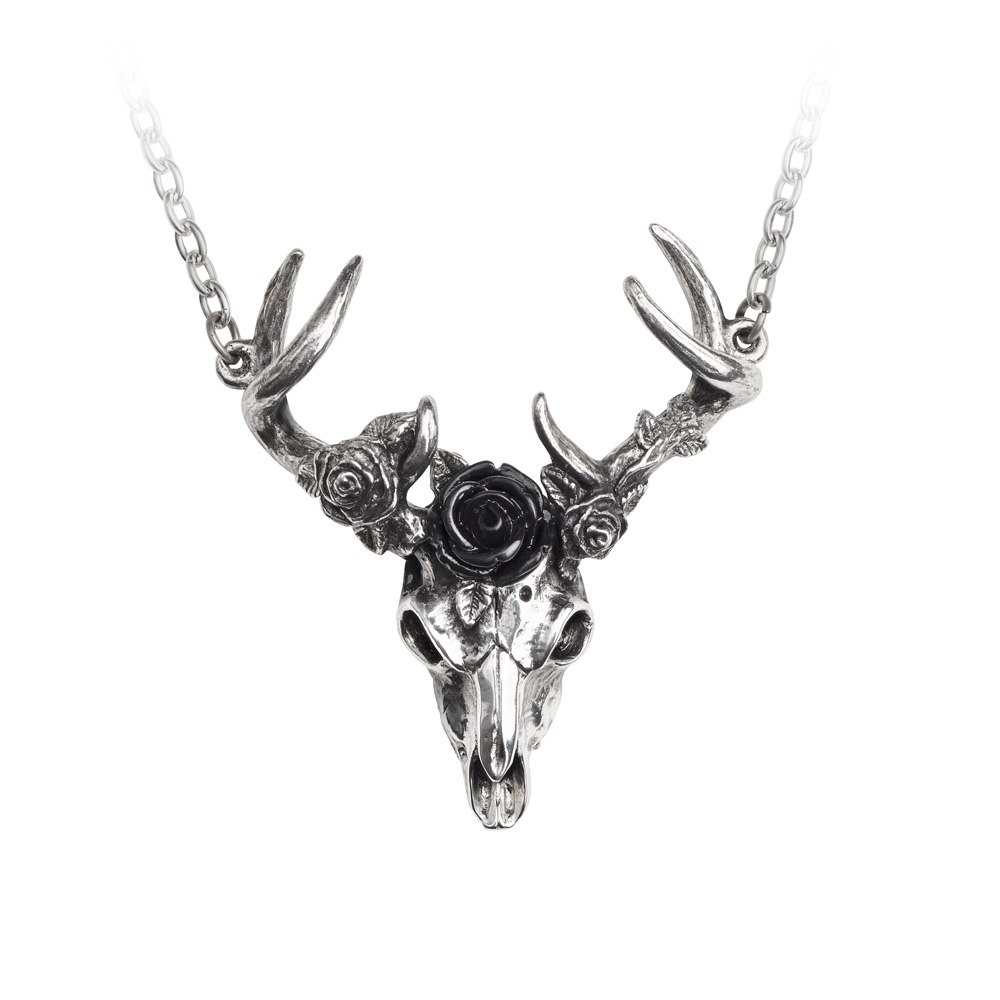 White Hart Black Rose Stag Pendant by Alchemy England 1977