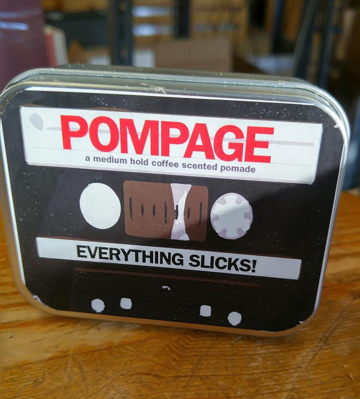 Pompage Everything Slicks- Medium Hold Pomade - from Pomps Not Dead in a cassette inspired tin
