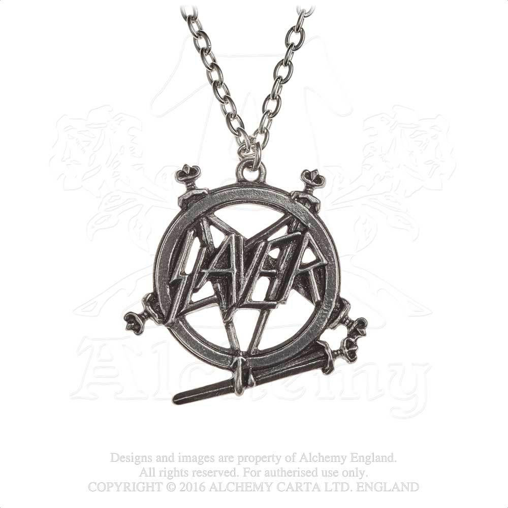 Slayer Pentagram Pendant Pewter Necklace by Alchemy England 1977