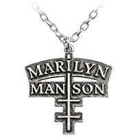 Marilyn Manson Double Cross Pendant Pewter Necklace by Alchemy England 1977