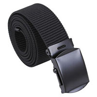 Miltary Web Belt by Rothco- Black With Black Buckle (Vegan- One Size)