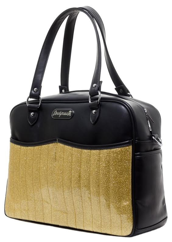 Retro Sparkle PVC Diaper Bag by Sourpuss - Gold