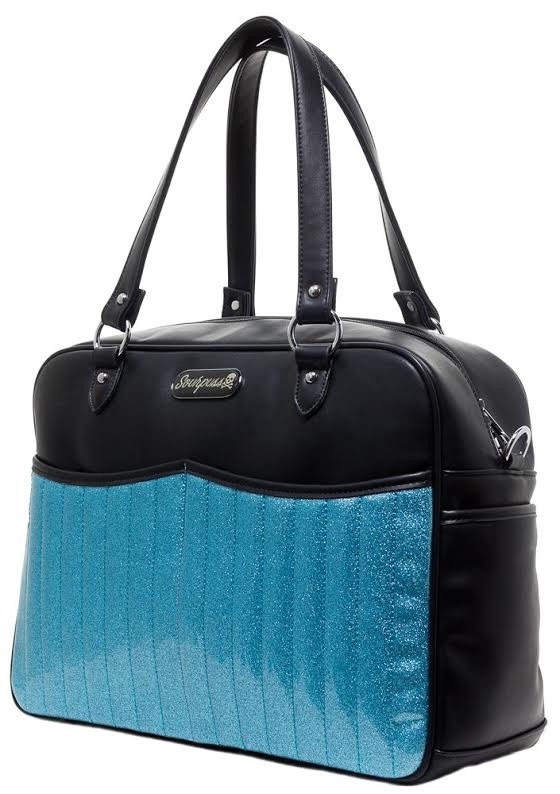 Retro Sparkle PVC Diaper Bag by Sourpuss - Aqua