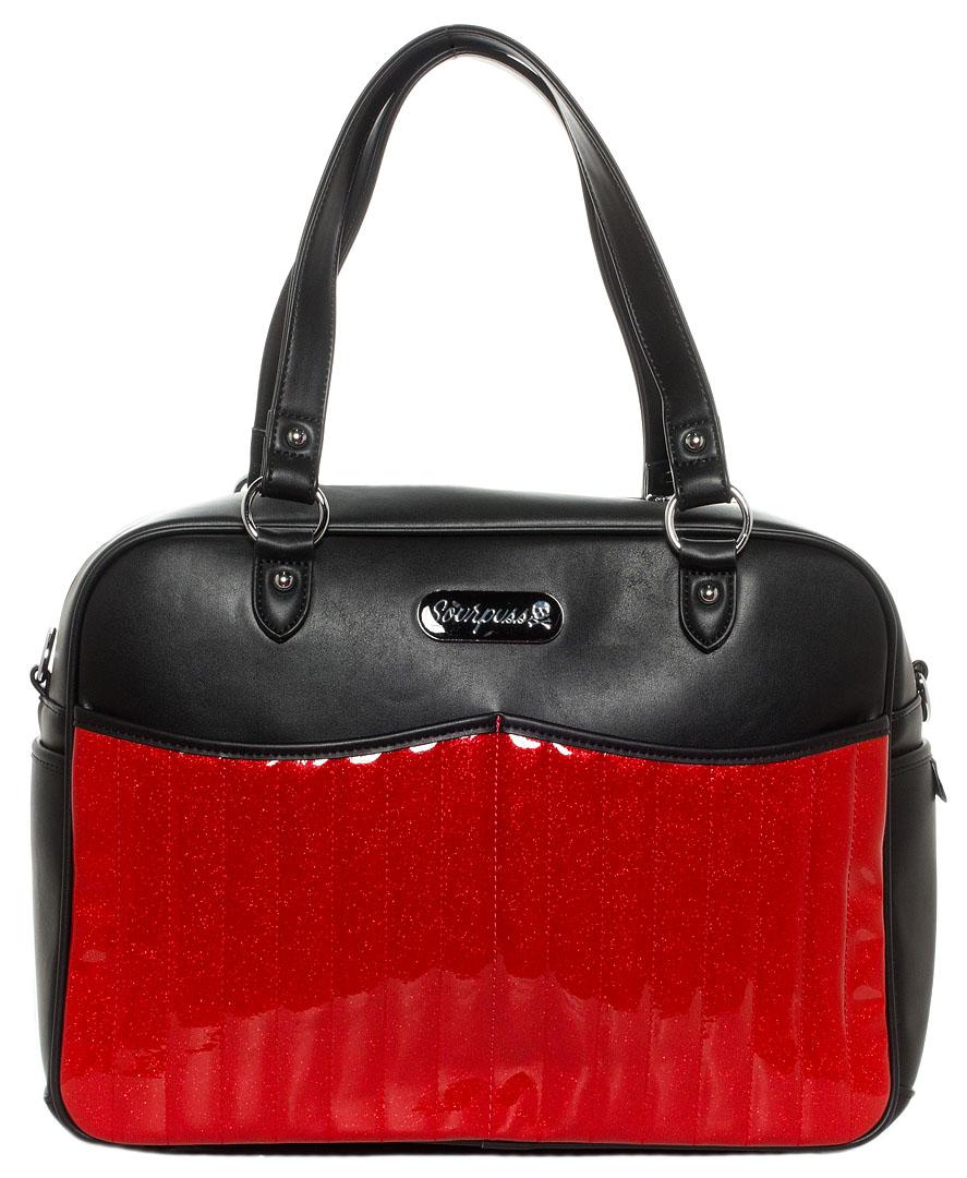 Retro Sparkle PVC Diaper Bag by Sourpuss - Red - SALE