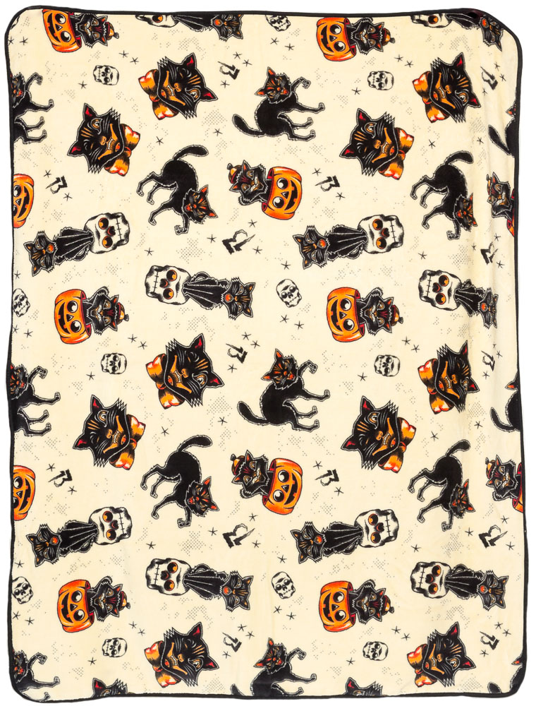 Black Halloween Cats Fleece Blanket from Sourpuss