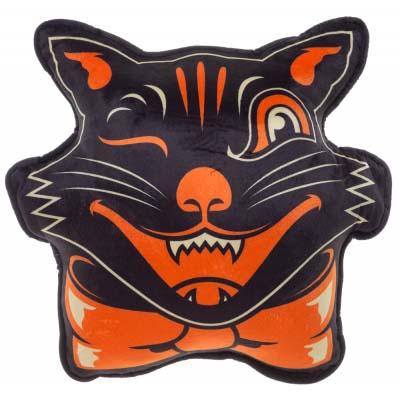 Black Halloween Cat Pillow by Sourpuss
