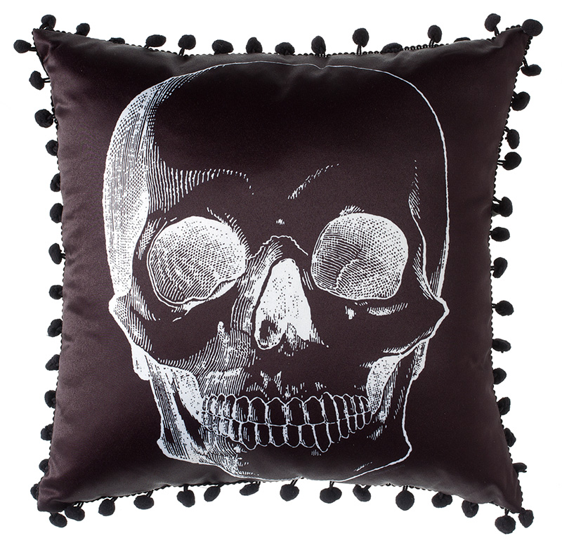 Black Skull Pillow by Sourpuss