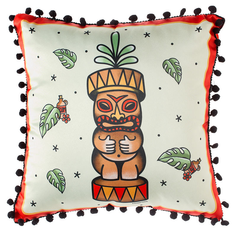 Cream Tiki Totem Pillow by Sourpuss - SALE
