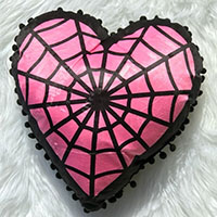 Webbed Heart Shaped Pillow by Sourpuss