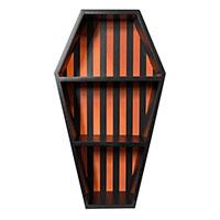 3 Tier Coffin Shelf by Sourpuss - Black & Pumpkin Orange Striped