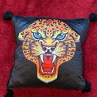 Square Jaguar Flash Art Pillow by Sourpuss