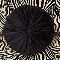 Tuffted Round Velvet Pillow by Sourpuss - Black